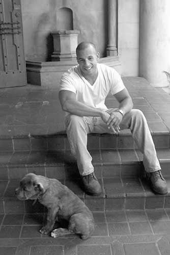 Vin and his dog, in black and white